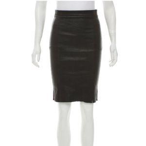 J Brand Leather Knee-Length Skirt